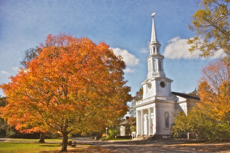 New England Architecture: FIrst Parish Church in Fall, c. 1848, Lexington Green, Lexington, Middlesex County, Massachusetts