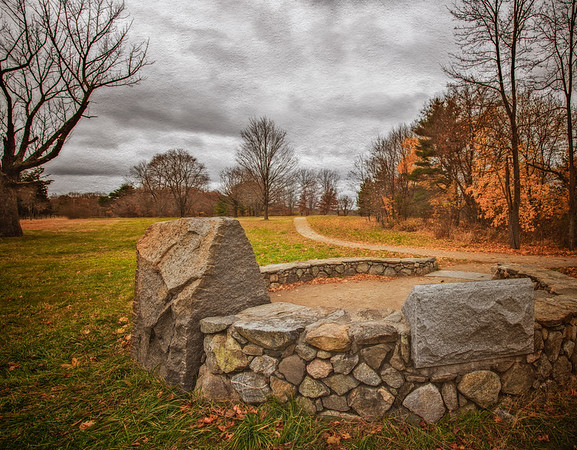Battlefields of the American Revolution: Memorial of the Capture of Paul Revere. Battle Road, Minute Man National Park, Lexington and Concord, Middlesex County, Massachusetts