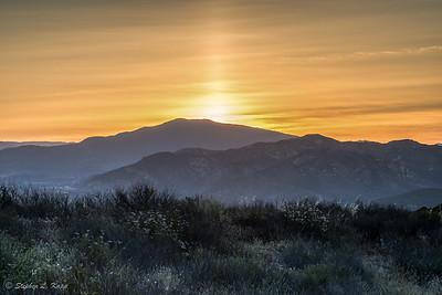 Sunrise behind Cuyamaca Peak