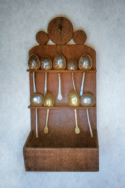 Colonial Era Daily Life: Spoon Rack and Spoons. Philipsburg Manor, Sleepy Hollow, North Tarrytown, Westchester County, New York