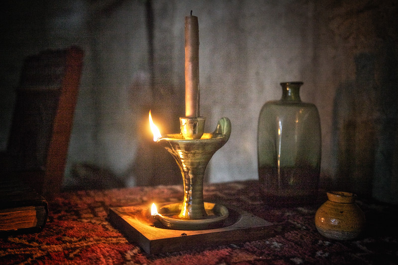 Life in Plymouth Colony: Oil and Candle Burner, 1627 English Village, Plimoth Plantation, Plymouth, Massachusetts