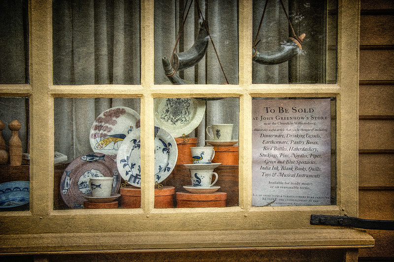 Colonial Era Daily Life. John Greenhow's Store. Colonial Williamsburg, WIlliamsburg, Virginia