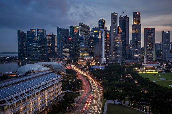 Singapore's skyline at dusk.