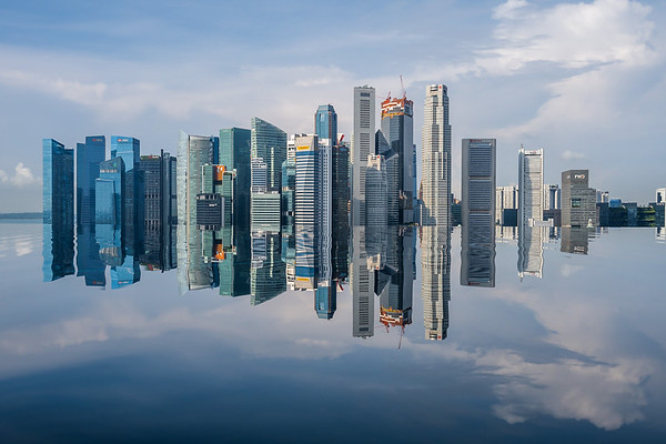 Reflection of Singapore's downtown skscrapers.