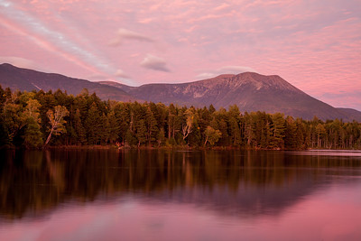 Sunset over Kidney Pond with Mt. Katahdin in the background, Baxter State Park, Maine.  This photo appeared in the 2017 Baxter State Park Calendar.