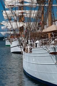 20120702.  Background, tall ship Gloria, from Columbia.  Middleground, tall ship Guayas, from Ecuador.  Forground, tall ship Cisne Branco, from Brazil.