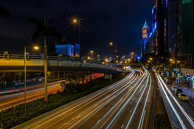 Light trails on Gloucester Road in Wan Chai.