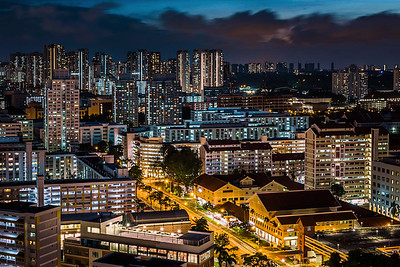 Bishan town at night.