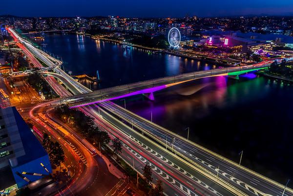 Brisbane City at night.