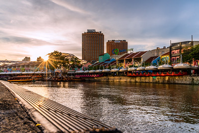 Sunset view at Clarke Quay.
