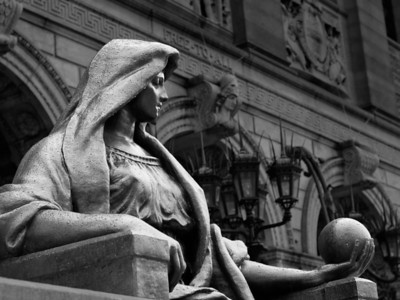 """20120602.  """"Science"""" statue in front of Boston Public Library."""