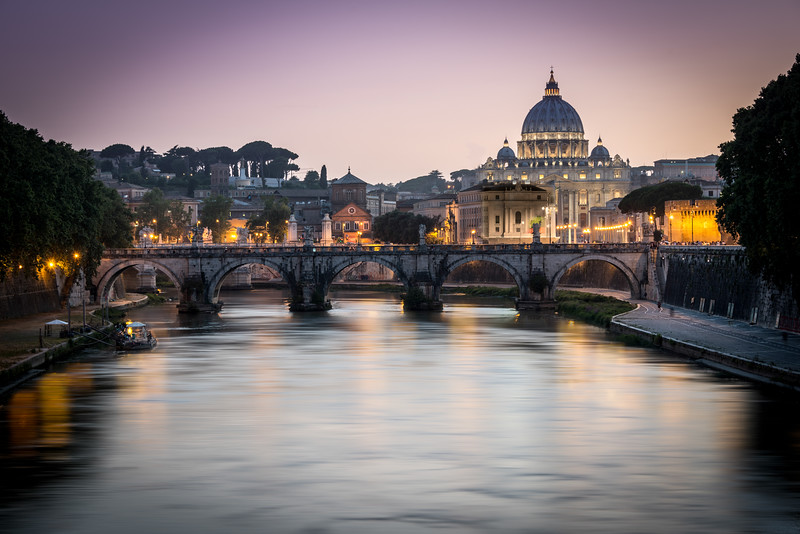 Vatican City as seen from acrooss the Tiber River.