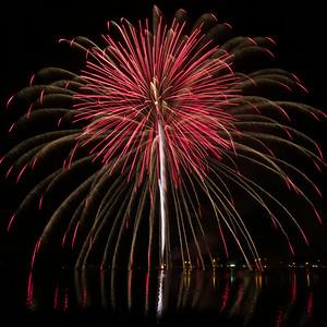 single long-exposure shot fireworks