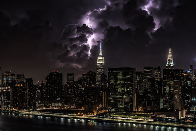 Lightning show over New York City