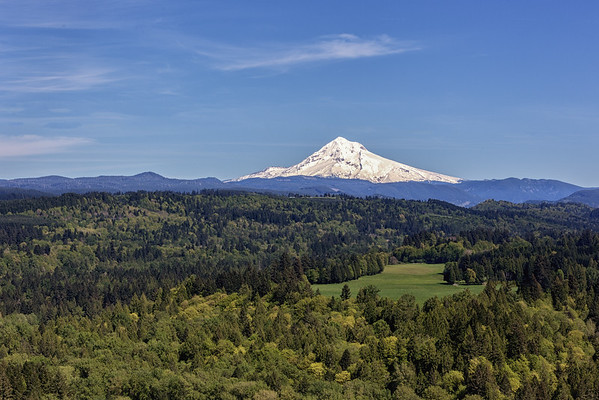 On a stunningly clear day, Mt. Hood glows, beckoning from south of Portland, Oregon.
