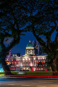 View of National Gallery in Singapore at night.