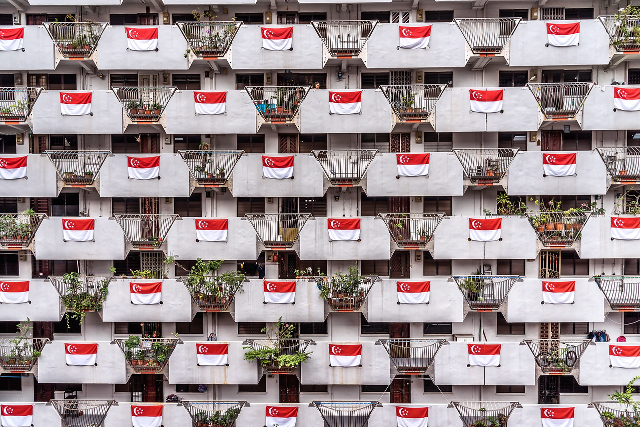 Singapore flags at Selegie Road.