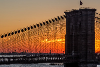 View of Statue of Liberty and Brooklyn Bridge at sunset.