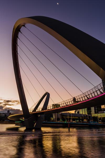 The Elizabeth Quay Bridge at dusk.