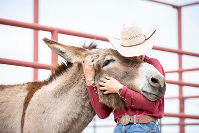 Meg Descheneaux cuddles with a burro after unloading them at Cattle Headquarters on Saturday, May 29, 2021.