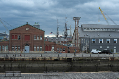 20120730.   Dock in Charlestown Navy Yard.  Masts of U.S.S. Constitution in background.