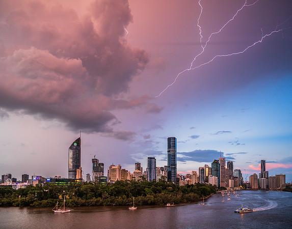 Lightning over Brisbane's sky.
