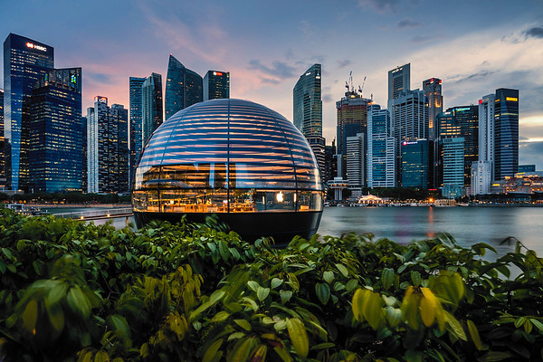 View of Apple Marina Bay Sands and the city skyline.