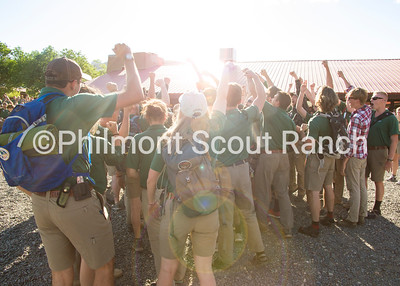 After a full day of All Staff Training, the ranger department rings in the summer of 2018 with their first chant of the season at the 2018 opening ceremony.