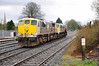 After 075 hauled 076 out of Kildare Yard it propelled the failed loco onto the Up Main road in Kildare. 075 will now run around 076.  Sat 02.04.11