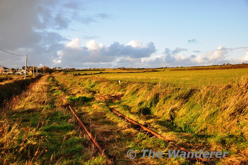 Low winter sunlight casts shadows across the track of the Fenit Branch near the Village. Between the 6MP & 7MP the railway runs alongside the R558 road. This is looking towards Fenit.  Sat 17.11.12