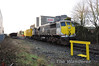 The Sperry Ultrasonic Container was undergoing testing on the stub of the Kilkenny Branch at Portlaoise Per Way Depot with loco 082 on Friday 13th January 2012. On the siding to the left is stored redundant Ballast Wagons.