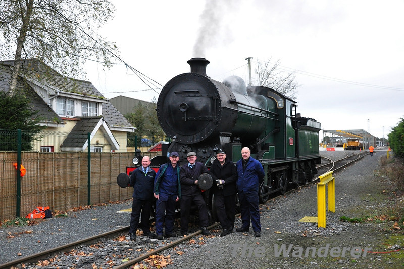 The I.E. and RPSI Crew Members involved in the trials over the last three days pose for the Camera at Coniberry Level Crossing. From left to right Mark Tyrell D.T.E. Cork, Driver Robbie Jolley, Connolly, RPSI Loco Rep Gerry Mooney, Driver Ken Fox, Cork and D.T.E. Traction Lar Griffin, Connolly. Wed 07.11.12