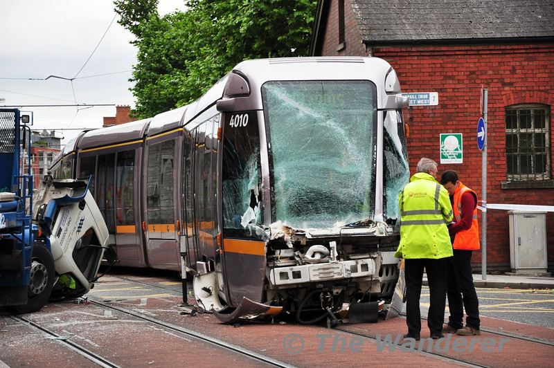 Picture showing the extent of the front end damage to 4010 after it was in collision with a Skip Lorry at Benburb Street. Mon 10.09.12