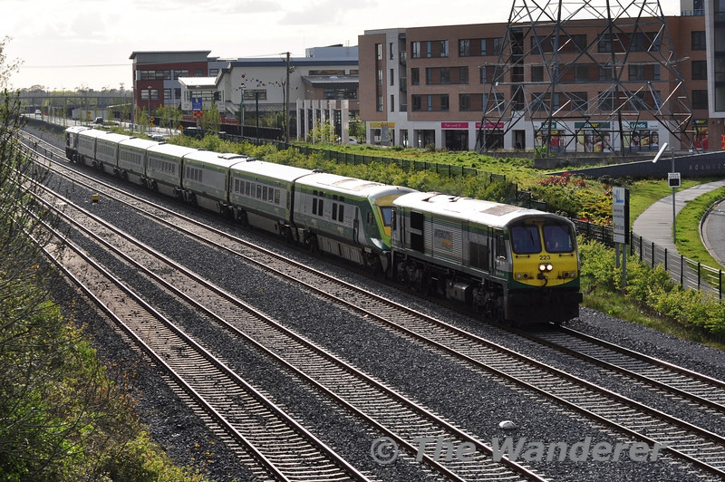 The 1330 Cork - Heuston failed at Portlaoise due to a fault on 232. 223 was summoned from Inchicore to haul the failed train to Heuston. It is pictured passing Adamstown at 1857. Tues 15.05.12