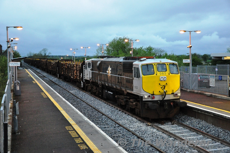 The long evenings of May, June and July means it is possible to photograph the Laden Timber Train from the West of Ireland to the Waterford in the Midlands. For the first of what will hopefully be many occasions for Summer 2012, 083 is pictured at Monastervin Station with the 1655 Ballina - Waterford Timber Train. Thurs 10.05.12
