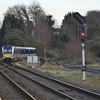 4018 departs Antrim and heads for the Antrim Branch. 230314