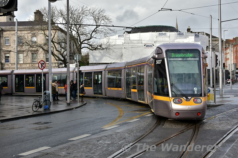 55 metre tram 5027 departs from O'Connell North bound for Broombridge. Sat 26.01.19
