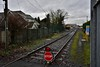 082 shunts a rake of wagons in the PWD Yard at Portlaoise. The stop board is protecting work with road rail machines on the other side of the Conniberry Level Crossing. Tues 14.01.20