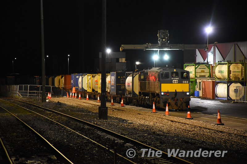 083 arrives into Ballina Freight Yard with the delayed 0935 North Wall - Ballina. 229 failed prior to departure and was replaced by 083 leaving North Wall at 1350. Sat 04.01.20