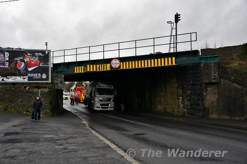 The Mountrath Road in Portlaoise was the scene of a bridge strike at UBC146 on Thursday afternoon when a HGV carrying a 45ft Eucon container failed to pass under the bridge which has clearance of 4.30 metres. Rail services were suspended for 45 minutes while Iarnrod Eireann engineers inspected the bridge for any damage. The 1125 Cork - Heuston and 1325 Portlaoise - Heuston were both heavily delayed with the 1300 Heuston - Cork, 1225 Cork - Heuston and 1425 Portlaoise - Heuston suffering minor delays. Thurs 02.01.20