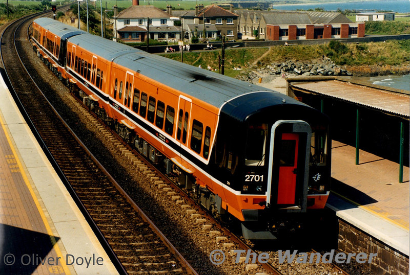 2701 + 2702 lead a sister unit into Balbriggan on a Photographic Special run from Dundalk shortly after their introduction to service in 1998. Photo courtesy of Oliver Doyle.