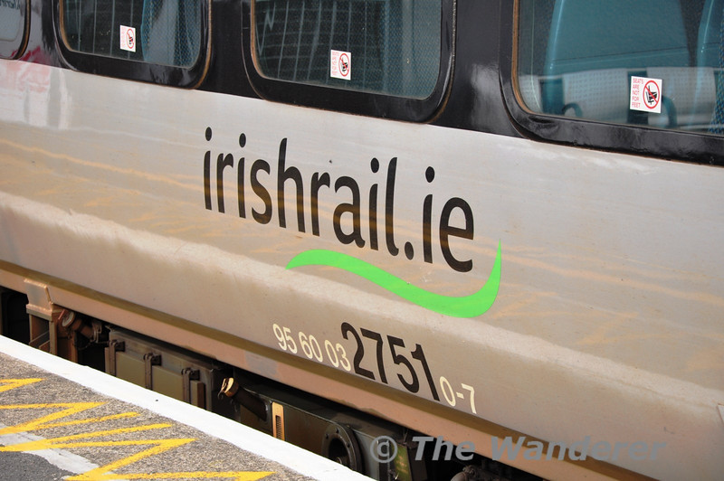 irishrail.ie logo and EVN number 95 60 0327510-7. Sat 09.10.10