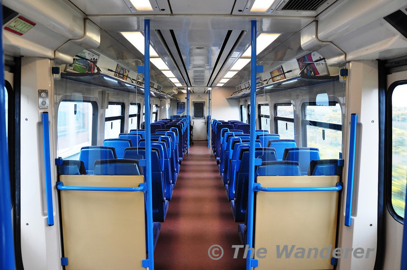 The interior of 2716. This 2700 vehicle is now unique as it still retains its original blue grabrails and it is the last 2700 class vehicle to retain a F End Gangway. Sat 10.03.12
