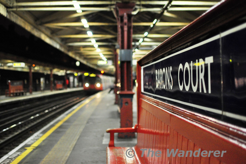 Piccadilly Line train at Barons Court. Sat 20.11.10