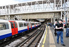Acton Town Station with a 73 stock train for Heathrow.  Sun 15.05.11