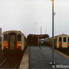 457 with the 0740 to York Road and 452 with the 0800 to York Road seen before departure at Larne Harbour 8th March 1991