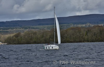 A sailing boat from Mountshannon heads into Lough Derg. Sun 22.04.18
