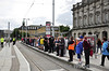 Passengers wait to board LUAS services to Dublin Docklands for the Tall Ships event. Sat 25.08.12