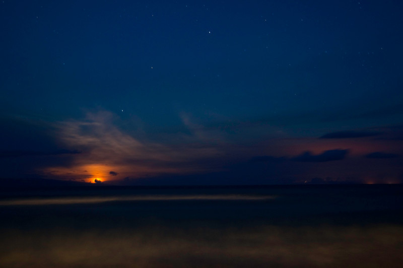 Moon Setting on Ka'anapali Beach<br /> Ka'anapali, Maui, Hawaii