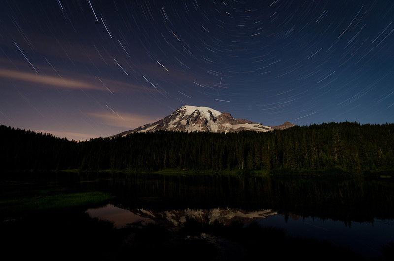 Mt Rainier Star Trails<br /> Reflection Lake